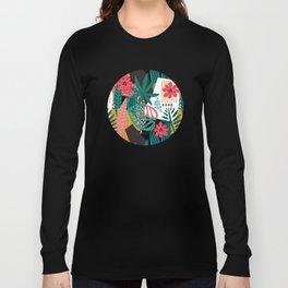 Matisse Inspired Pop Art Tropical Fun Jungle Pattern Long Sleeve T-shirt