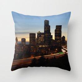 Seattle Skyline Sunset City Throw Pillow