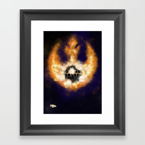 Death Star Destruction Framed Art Print