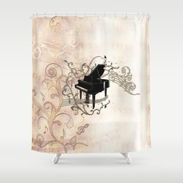 Music, piano with key notes and clef Shower Curtain