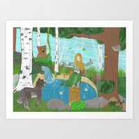 Girl in The Forest Art Print