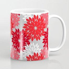Modern Floral Kimono Print, Coral Red and Gray Coffee Mug