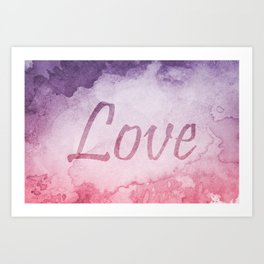Abstract Watercolor Love Typography Graphic Design Art Print