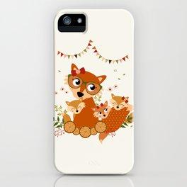 Maman renard et ses enfants iPhone Case