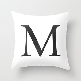 Letter M Initial Monogram Black and White Throw Pillow