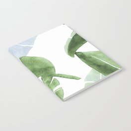 Tropical Leaves Green And Blue Notebook