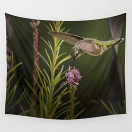 Hummingbird and deck flowers Wall Tapestry