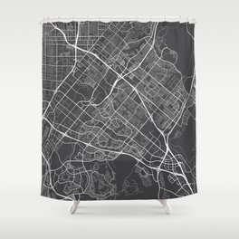 Irvine Map, USA - Gray Shower Curtain