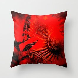 Ammonite Red & Buddleia Red Throw Pillow