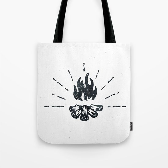CAMPFIRE - Black and White Vintage Rustic Camping Adventure Fire Art Design Tote Bag
