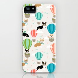 Corgi hot air balloon ride cute gifts for corgi lovers welsh corgi red and tricolored iPhone Case