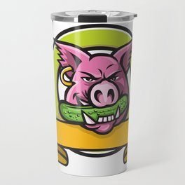 Wild Boar Biting Gherkin Circle Mascot Travel Mug