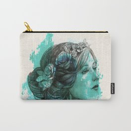 Woman with floral wreath in watercolor Carry-All Pouch