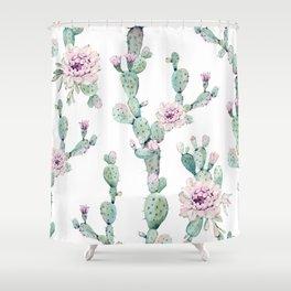 Arizona Desert Rose Cactus Pattern Shower Curtain