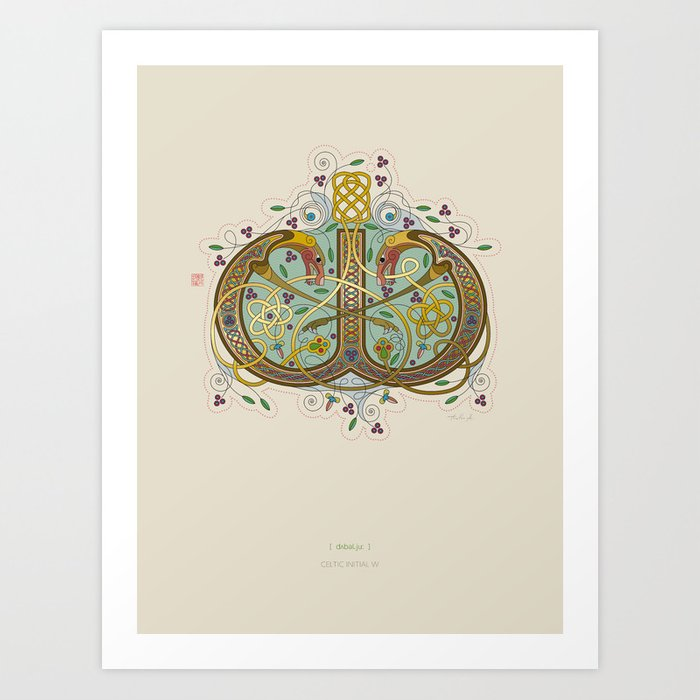 Celtic Initial W Art Print