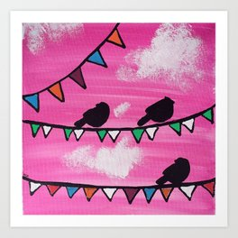 Birds with Flags (Pink) Art Print