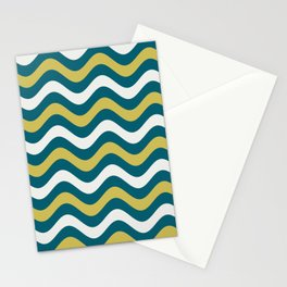 Off White, Dark Yellow and Tropical Dark Teal Inspired by Sherwin Williams 2020 Trending Color Oceanside SW6496 Wavy Horizontal Stripe Line Pattern Stationery Cards