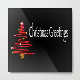 Christmas Blackboard Metal Print