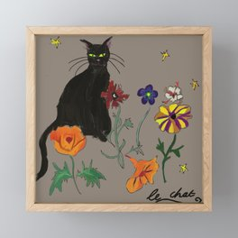 Black cat Le Chat Framed Mini Art Print