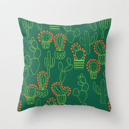 cute cactus pattern with dots Throw Pillow
