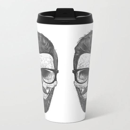 Hipster Skull Metal Travel Mug