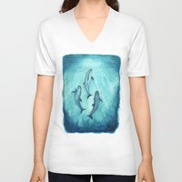 biology V-neck T-shirts featuring Song of the Vaquita  by Amber Marine