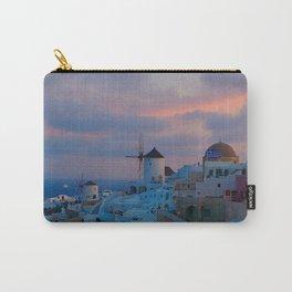 Santorini, Oia Greece, Windmill Sunrise Carry-All Pouch