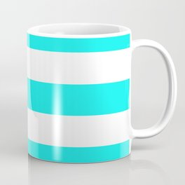 Fluorescent blue - solid color - white stripes pattern Coffee Mug