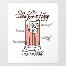 Sloe Gin Fizz Art Print