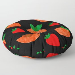 Tropical exotic peach slices and sweet red strawberries summer fruity bright sunny pastel white distressed cute black pattern design. Floor Pillow