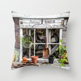 Potting Shed At Work Throw Pillow