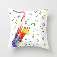 saxophone Throw Pillows featuring Saxophone by Miss L in Art