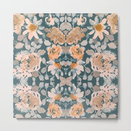 Floral Watercolor, Orange and Teal, Wall Art Boho Metal Print