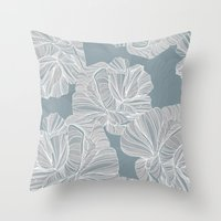 gray pattern Throw Pillows featuring Gray Roses Pattern - Blue  by Sweet Karalina