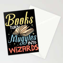Books Turn Muggles into Wizards Gifts for Book Lover Stationery Cards