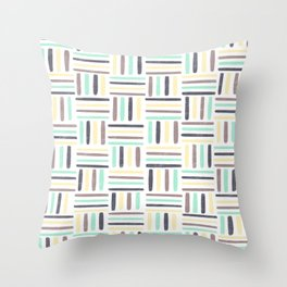 Linear Weave //Basket Weave Design, Pastel colours, green, black, brown, yellow Throw Pillow