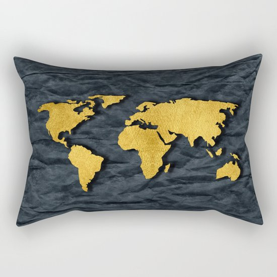 Metallic Gold Leaf Map on paper Rectangular Pillow