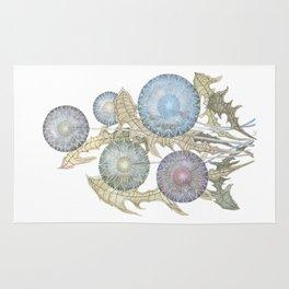 Dandelions watercolor painting Rug