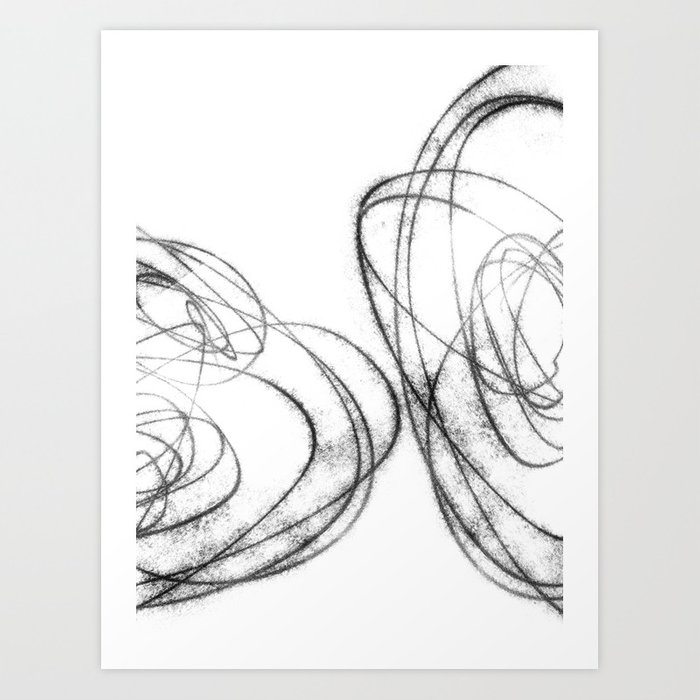 Minimalist Abstract Line Drawing in Black and White Art Print