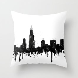 Watercolor Chicago Skyline Throw Pillow