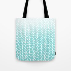 Hand Knitted Ombre Teal Tote Bag