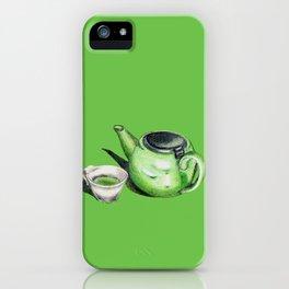 Green Tea and Teapot Illustration Art iPhone Case
