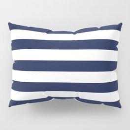 Nautical Navy Blue and White Stripes Pillow Sham