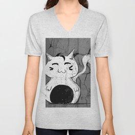 Dilly Kawaii Cat Art Print Unisex V-Neck