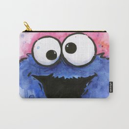 Cookie Monster Funny Cartoon Character Watercolor Blue Pink Carry-All Pouch