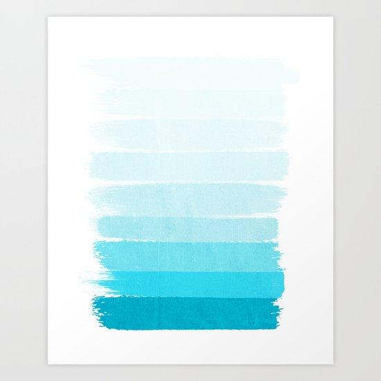 Isla - Ombre Brushstroke - Blue Turquoise, Bright, Summer, Tropical, Beach Ocean Art Print