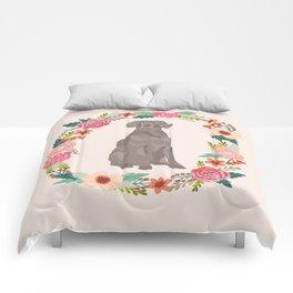 weimaraner floral wreath dog breed pure breed pet portrait Comforters