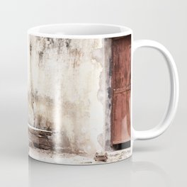 Seat in front of the Old Door Coffee Mug
