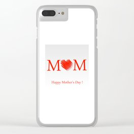 Happy mothers day- Red heart scribbled to form letter O Clear iPhone Case