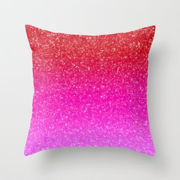 Red/Pink Glitter Gradient Throw Pillow